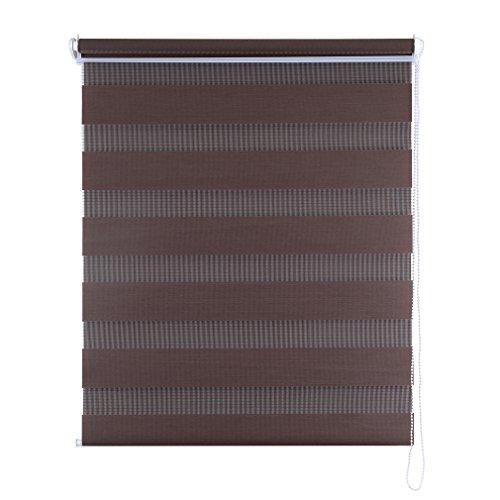 SHINY HOME® Duo Rollo Doppelrollo Klemmfix Fensterflügel mit Klemmträger Lichtundurchlässig Raffrollo ohne Bohren Sonnenschutzrollo Verdunklung Fensterrollo für Fenster oder Tür 100x150cm Kaffee - 6