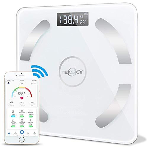 TekSky Smart Körperfettwaage, kabellos, Körperkompositionsmonitor mit Bluetooth iOS und Android App - Körperfett, Wasser, Muskel, BMI-Analysator - max. 200 kg
