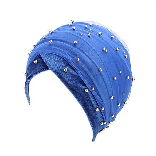 GreatestPAK Mit Kapuze Scaves Turban Cap Frauen Muslim Hijab Wrap Kopftuch Krawatte Hut Damen Headwear, Blau