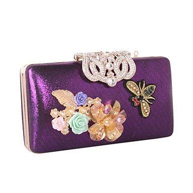pwne Frauen Abend Tasche Kunstleder Alle Jahreszeiten Hochzeit Event / Party Formale Minaudiere Strass Satin Flower Pearl Details Floral Kette Snap Purple