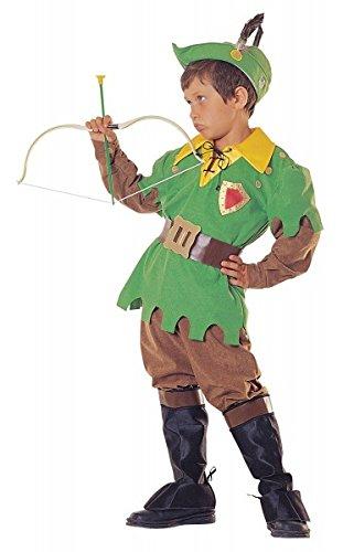 Premium Robin Hood-Kostüm für Jungen mit Hut, Stulpen und Gürtel | Hochwertiges Karnevals-Kostüm / Faschings-Kostüm / Kinderkostüm | Perfekte Räuber Verkleidung für Karneval, Fasching, Fastnacht (Größe: 116)