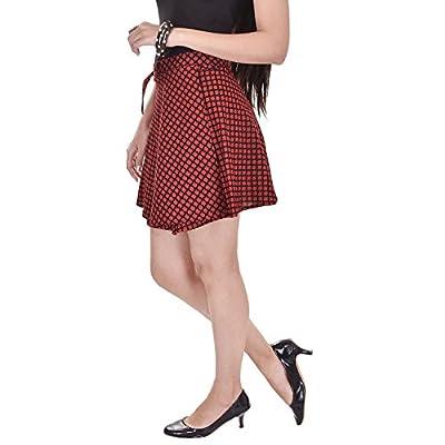 Haridra Women's Open Cotton Short Skirt (HWSM-A10,Red,Free Size)