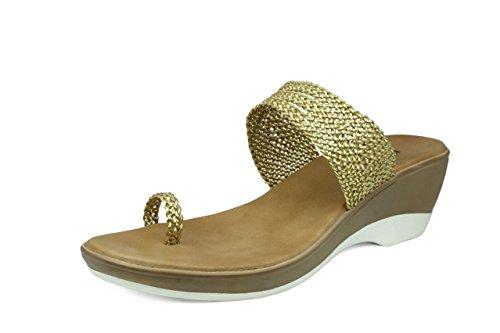 Inc.5 Women Gold Synthetic Fashion Sandals (5741_Gold_5 UK) - 5 UK