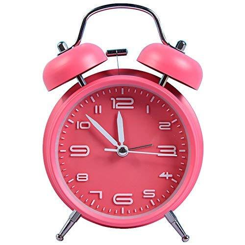 LOSKDMMJIO Wecker-Creative Metal Leuchtender Student Alarm Multifunktionslenwecker,Pink