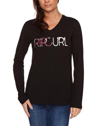 rip-curl-t-shirt-logo-col-v-manches-courtes-femme-noir-solid-black-fr-moyen-brand-size-medium