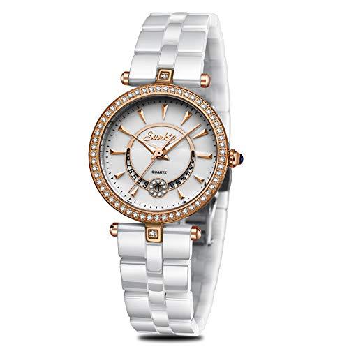 SUNKTA Frauen Dame Kleiden Analog Quarz Uhr mit Keramik Band Beiläufig Mode Wasserdicht Uhren Diamant Armbanduhr Keramik-band