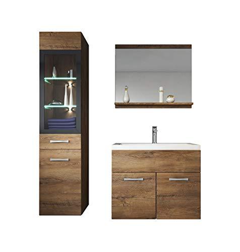 Badezimmer Badmöbel Set Rio LED 60 cm Waschbecken Lefkas (Braun) - Unterschrank Hochschrank Waschtisch Möbel -