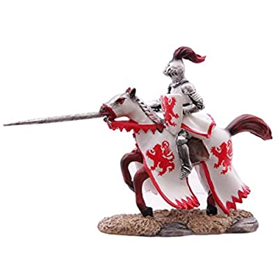 Fantasy Knight Figurine On Rearing Horse White And Red These Fantasy Knight, Princess And
