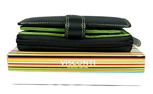 """Visconti portafoglio di pelle da donna a piegatura doppia """"Rio"""" Combination Leather Purse (CD-22): nero/verde (blk/lime)"""