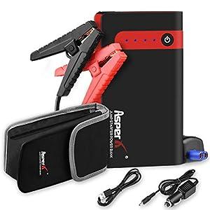 AsperX Starthilfe Powerbank, 500A Auto Starthilfe (bis zu 4.5L Benzin, 2.5L Diesel) Auto Powerbank 12V Autobatterie Anlasser mit USB-Schnellladung, LED Taschenlampe