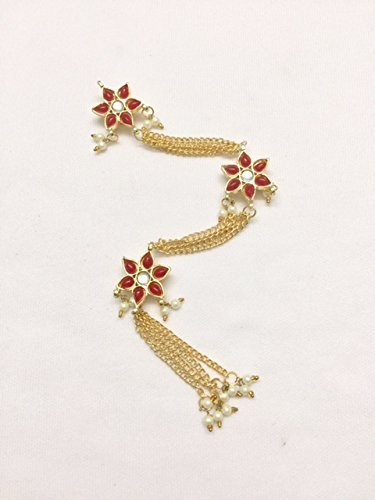 Red golden colour Kundan buttons Kurti front pati hanging buttons decorative designer