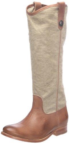 Frye Melissa Button Damen Beige Rund Leder Cowboy Stiefel Neu/Display EU 36,5 (Frauen Frye Stiefel Verkauf)