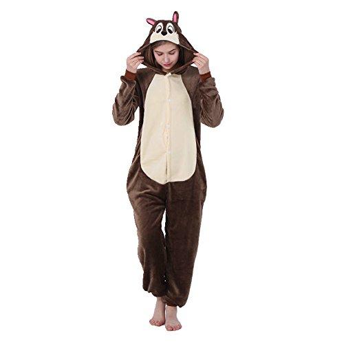 Unisex Biene Grauer Waschbär Pferd Kuh Schlange Lemur Fledermaus Onesie Kigurumi Pyjama Karneval Kostüm Maskenkostüm Kapuzenpulli Schlafanzüge Eichhörnchen, L(Height 170cm-180cm)