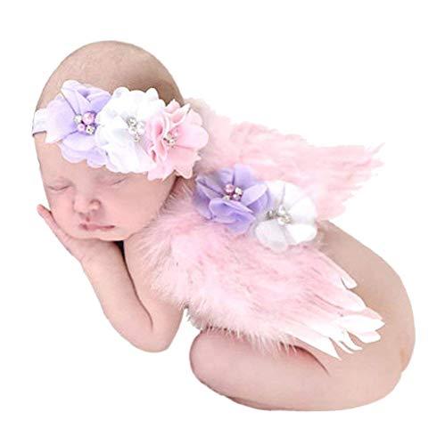 HENGSONG Engelsflügel Fotografie Prop Baby Neugeborene Fotoshooting Kostüm Engel Feder mit Blumen Haarband (B)