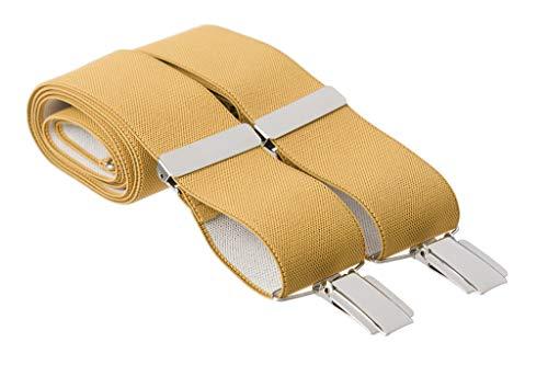 1786f8a78 Gents Shop - Tirantes - Liso - para hombre Amarillo amarillo mostaza  Estándar- 112 cm