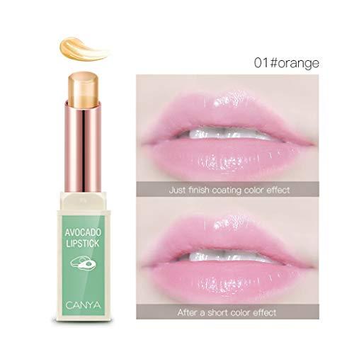 Rouge à Lèvres Hydratant Cosmétique Glitter Changement de Couleur Fruit de Gelée Transparent Femmes Magiques Madame Imperméable 3 couleurs Maquillage de Beauté (Orange)