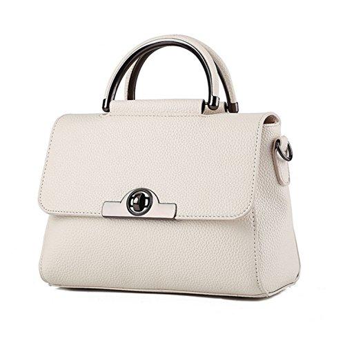 HeHe Damen PU Leder Handtaschen Damen Henkeltaschen Elegante Umhängetasche für Damen weibliche Schultertasche - Cremeweiß