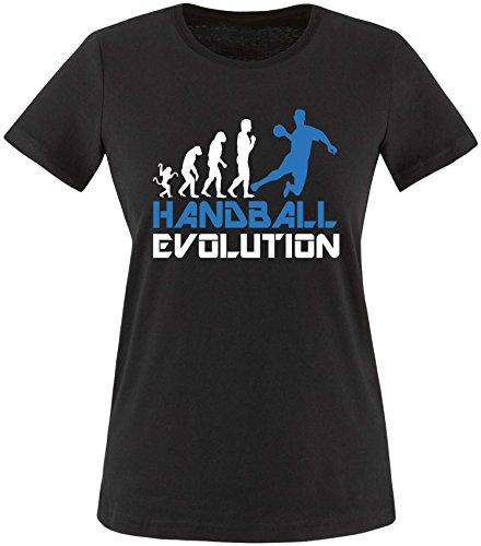 EZYshirt® Handball Evolution Damen Rundhals T-Shirt Schwarz/Weiss/Blau