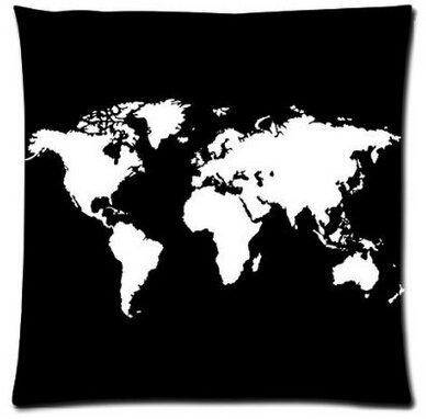 Kissen Retail-paket (Alexander Retail Paket Weiß Weltkarte auf Black Country Name quadratisch Reißverschluss Kissen Kissenbezüge Überwurf Weich Schutzhülle, 18x18inch)