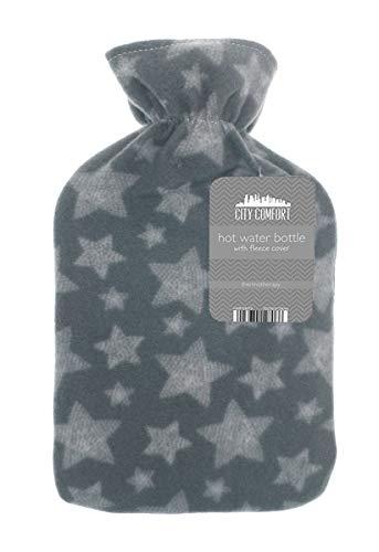 Wärmflasche mit schönen Fleece-Druck Soft Cover Premium Naturkautschuk 2 Liter Heißwasser-Tasche - hilft Wärme und Komfort (Multi-Star-Print)