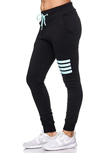 BELLIS® Damen Hose Jogginghose Sporthose Freizeithose /XS-XXL/ G-699014 Black-(Island Paradise)