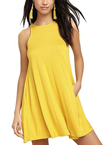 HIMONE Frauen Ärmelloses Casual Loose Sommer Kleid (Gelb Kleid Casual)