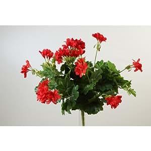 Géranium artificiel MIA sur piquet, rouge, 40 cm, Ø 40 cm - Faux géranium / Fleur artificielle - artplants
