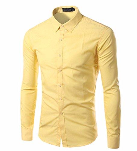 Men's Vestidos Camisa Long Sleeve Slim Fit Casual Shirts yellow