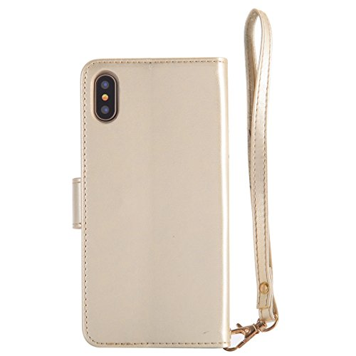 Coque iPhone X Cuir,iPhone X Coque Portefeuille,iPhone X Case Wallet PU Cuir Retro Etui Folio Housse Leather Case Wallet Flip Protective Cover Etui et TPU Silicone Inner Case Portefeuille 3D en Relief Femme Or