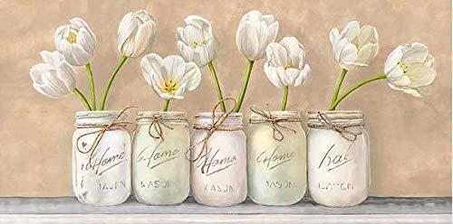 Rahmen-Kunst Keilrahmen-Bild - Jenny Thomlinson: White Tulips in Mason Jars Leinwandbild Tulpen Blumen Vasen Töpfe Landhaus (Mason Blumen Jars In)