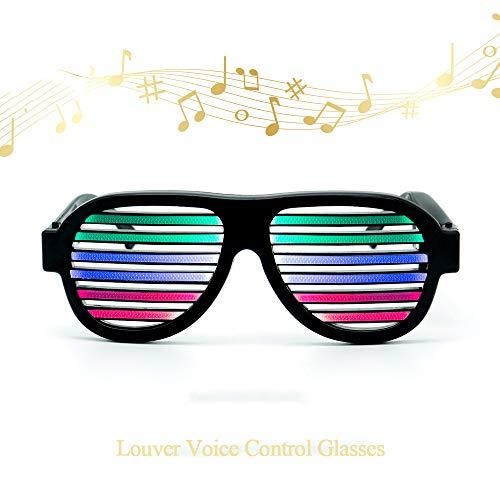 D Light Blinds Voice-Aktivierte Gläser Neon Party Favor Verschiedene Farben Glühen In Der Dunklen Party Supplies Pack,Black ()