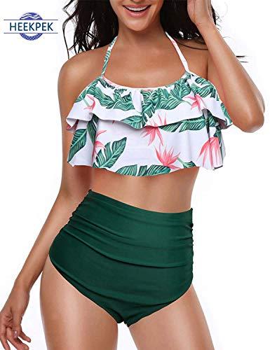 heekpek Bikini Damen Set High Waist Ruffles Strap Niedlich Badeanzug Crop Top Volant Neckholder Bikini Oberteil und Bikinihose Sommer Mode Bademode Zweiteilige Strandkleidung