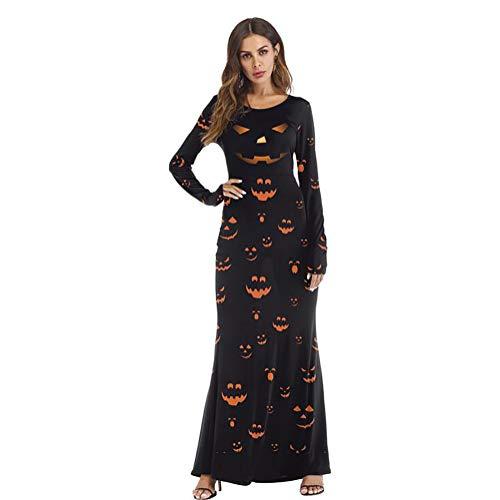 SHANGLY Halloween Langes Kleid Kürbis-Laterne Trick or Treat-Party Frau Sexy Lange Ärmel Kostüm,L/XL