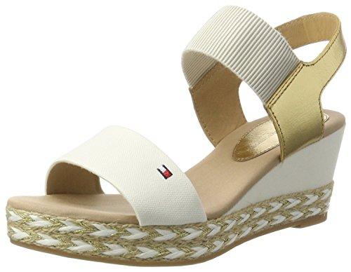 Tommy Hilfiger Damen E1285LBA 33C2 Offene Sandalen mit Keilabsatz, Weiß (Whisper White-Gold 901), 39 EU