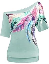 Mujer blusa tops Otoño talla grande moda streetwear,Sonnena Las mujeres Blusa de la manera más tamaño inclinado cuello de plumas de manga corta chaleco Tops blusa