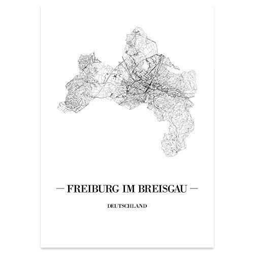 Kunstdruck Plan Map Gelsenkirchen JUNIWORDS Stadtposter Weiß