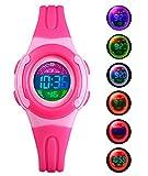 BHGWR BHGWR Kinder und Jugendliche Digital Quarz Uhr mit Rosa Plastik Armband Tägliche Wasserdicht Digitaluhr LED Sport Uhren für Mädchen mit Stoppuhr/Wecker/EL-Licht