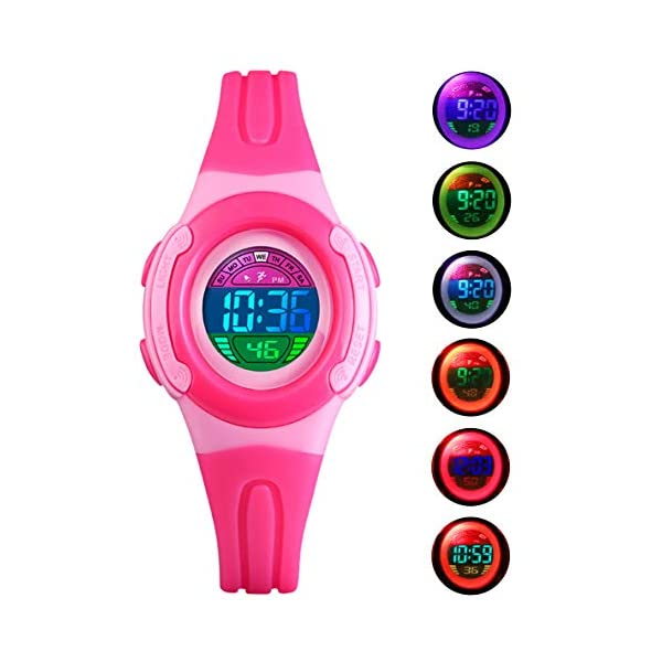 BHGWR Girls Watches, Daily Waterproof Kids Digital Watch with Stopwatch/Alarm/Colorful EL Light, Childrens LED Sport Wrist Watches for Girl – Pink 41DIH8OFG2L