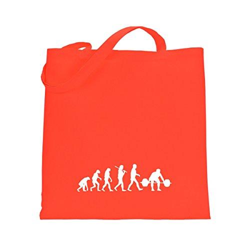 Shirtfun24 Baumwolltasche EVOLUTION BODYBUILDING Kraftsport, bottle (grün) coral orange