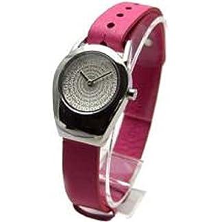 Reloj mujer solo tiempo, 28mm caja de acero, esfera gris con le palabras del marca, Correa de piel rosa.