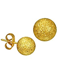 iJewelry2 Stainless Steel Gold Tone Stardust Sandblasted Bead Ball Stud Unisex Earrings 6mm