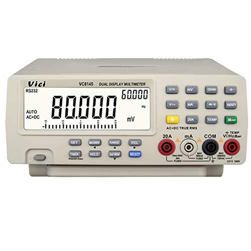 Multímetro de mesa Auto Range 80000 Count Multímetro digital Probador Retroiluminación Voltímetro digital VC 8145 Multímetro Digital Tester (Edition : EU Plug)