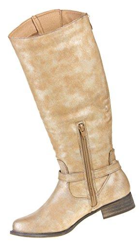 Damen Schuhe Stiefel Gefütterte Used Optik Boots Braun