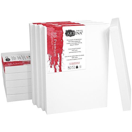 Artina 10er Set - 13x18 cm Leinwand aus 100% Baumwolle auf stabilem Keilrahmen in 3D Premium Qualität - 380 g/m² -