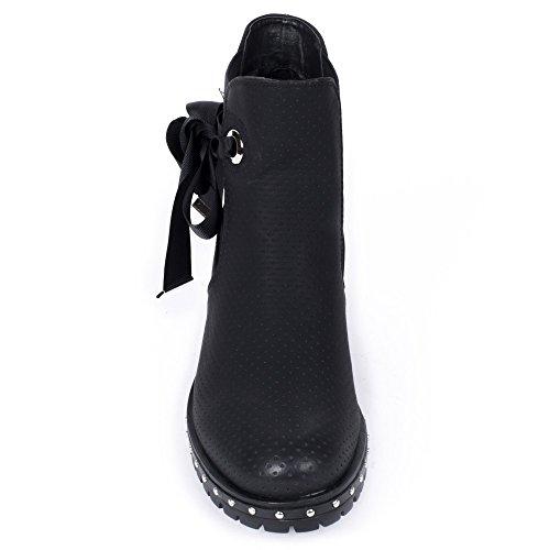 Nastro Traforati Stivali Stile Chelsea Con Nero Ideale Scarpe Camillia CxgUwHTqC