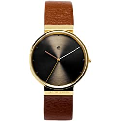 Jacob Jensen Dimension Series Men's Quartz Watch with Brown Dial Analogue Display and Brown Leather Strap 844