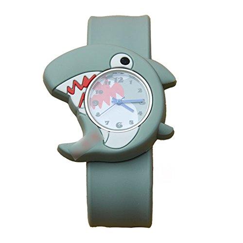 HuntGold 1X Meer Tierkarikatur 3D Fisch Uhr Silikon Band Armbanduhr Quarz Uhr(hai)
