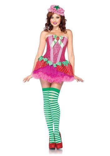 (Leg Avenue 85171 - Erdbeer Kostüm Set, Größe M, rosa)