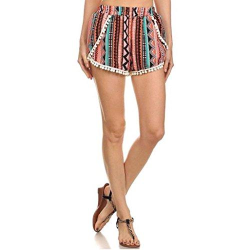 Falte Pocket Mini Rock (Hosen Damen Kolylong Frau Sommer Hot Pants Hohe Taille Polyester Verlieren Kurze Hose (L, A))