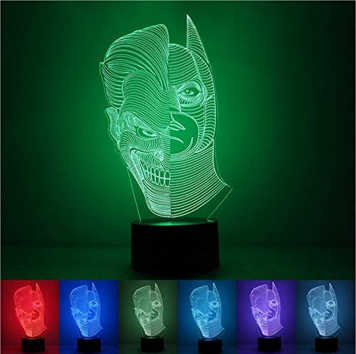 Tywwan 3D Lampe Mit Zwei Gesichtern, Bösen Jungs Nachtlicht Kinder Illusion Stimmungslicht Fernbedienung Nachttischlampe 7 Farben Ändern Touch Switch Schreibtisch Lampen